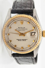Vintage $7000 Mens Genuine Rolex Datejust 18K Gold SS Watch - RARE FIND