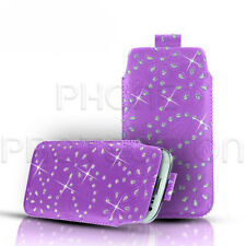 LEATHER DIAMOND BLING PULL TAB SKIN CASE COVER POUCH FOR VARIOUS APPLE PHONES