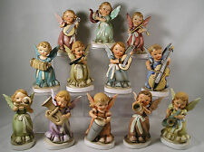12 Nikoniko Japan Angel Figurines,Music Instruments,Trombone,Drum,Saxaphone,Horn