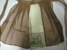 Vintage Sheer Half Apron Brown Yellow Embroidered Cross Stitch Sunbonnet Sue