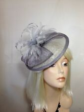 Grey Two Tone Fascinator Hatinator, Feather Hat, Melbourne Cup, Spring Racing