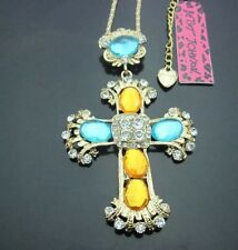 Cute NWT Betsey Johnson Necklace Mosaic Gold Cross Blue Yellow Stones Religious