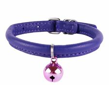 CollarDirect Rolled Leather Cat Collar Bell Pink Orange Purple Red Green Black