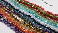 70 x FACETED TEARDROP CRYSTAL GLASS PENDANTS 5x7mm LOOSE BEADS 17 COLOUR CHOICE