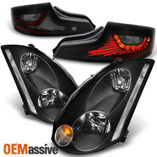 [Exclusive] 2003 2004 2005 G35 Coupe HID Headlights & Blk Smoke LED Tail Lights