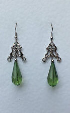 APPLE GREEN VICTORIAN STYLE FILIGREE EARRINGS DARK SILVER ACRYLIC CRYSTAL VC