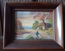 Carl Roth Original Oil Painting Mid Century Classic, Sheep Shepherd Country Home