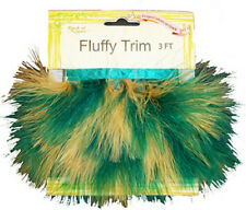 GREEN & GOLD Fluffy Marabou Feather Trim With Satin Binding 1 yard NEW Sale!!