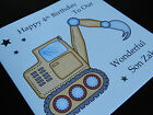 Personalised Handmade Digger Birthday Card - Son, Grandson, Brother, Nephew