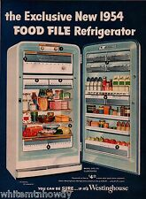 1954 WESTINGHOUSE Model DFG-123 REFRIGERATOR AD Retro Mid-Century Kitchen