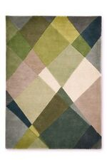 NEXT Green Abstract Diamond Wool Rug 100 x 150cm