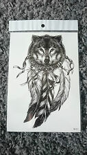 21x15cm Sheet-High-Quality-Fake-Tatto-Cool-Wolf-Feathers-Waterproof-Temporary