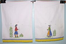 Edward Boutross Kitchen Tea Towel Set 2 Quimper Style Breton Shepherd Man Lady