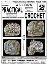 Weldon's 2D #247 c.1905 Vintage Crochet Patterns for Infant Bonnet Book