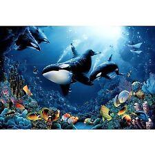 KILLER WHALES - UNDERWATER ART POSTER 24x36 - DELIGHT OF LIFE OCEAN REEF 1590