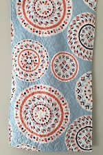 PAIR! Quilted KING SHAMS Preppy Geometric Circles Blue Orange Padded CMN Home