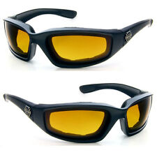 Men Choppers Wind Resistant Foam Padded Biker Riding UV400 Sunglasses - C17 HD