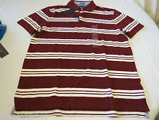 Men's Tommy Hilfiger Polo shirt stripe logo 7869998  Cabernet 627 burgandy L NWT