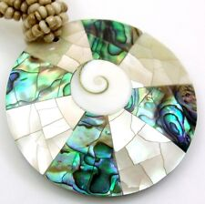 ABALONE, MOTHER -OF-PEARL & SHIVA EYE necklace; FA280