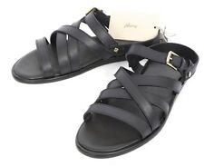 Mens BRIONI Black Leather Open Toe Strap Sandals Shoes 8 1/2 EU 9 1/2 US NIB!