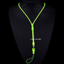 NEW  Free shipping zipper necklace Employee's card/key hang rope light green F63