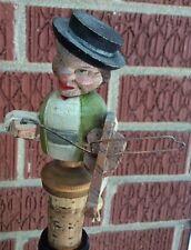 Vintage Anri Wood Carved Mechanical  Violin Player Bar Wine Bottle Stopper Cork
