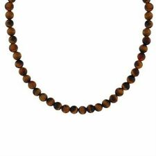 Silver 4mm GENUINE TIGER EYE STONE BEAD NECKLACE 16""
