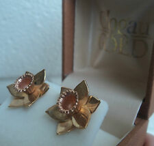 Clogau Welsh 9ct Gold Daffodil Pierced LARGE Earrings - Yellow & Rose Gold