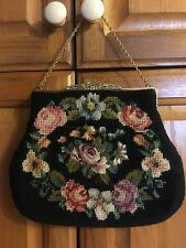 VINTAGE NEEDLEPOINT TAPESTRY METAL FRAME CHAIN STRAP BAG PURSE HANDBAG