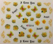 Nail Art 3D Decal Stickers Yellow Roses Butterflies I Love You Angel E314