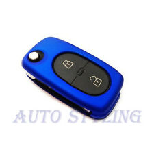 Metallic Blue Key Cover VW 2 Button Case Remote Fob Protector Cap Bag Oval 42mb