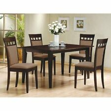 5 PC Espresso Brown 4 Person Table and Chairs Dining Dinette - Beige Chair