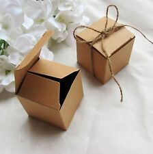 100pcs Square Kraft Paper Box With Jute Gift Candy Box Wedding Party Favor