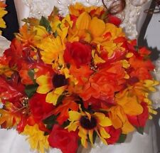 17pcs Fall Wedding Bouquet Set Fall Leaves Orange Red Yellow Flowers Burlap Stem