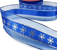 """4 Yds Christmas Winter Blue Silver Snowflake Sheer Edge Wired Ribbon 2 1/2""""W"""