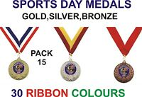 PACK OF 15 (0.86p each) Sports Day Medals & Ribbon Metal 50mm Ref: GMM7050-MR1