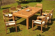 """9 PC DINING TEAK SET GARDEN OUTDOOR PATIO 82.5"""" RECT TBL, 8 MONT STACKING CHAIRS"""