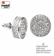 Hip Hop Men's Bling Silver XL Flat Round Micro Pave AAA CZ Stud Earring TE 530 S