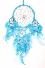 NEW TURQUOISE BLUE DREAM CATCHER HANDMADE W/ LEATHER & FEATHER CAR WALL DECOR