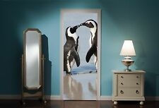 Door Mural Penguin Penguins Kissing View Wall Stickers Decal Wallpaper 296