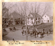 DOVER-FOXCROFT, ME  STREET SCENE WITH MARCHING BAND & ORIGINAL ca 1890s PHOTO