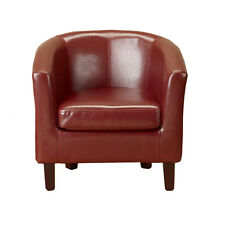 Modern Red Faux Leather PU TubChair Armchair Dining Room Office Lounge Furniture