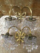 Lustre Araña de cristal de cristal tallado par Luces De Pared brazos Dorado Hermoso