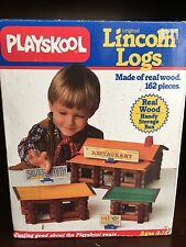 1986 Playskool Original Lincoln Logs 150 Real Wood Pieces Western Lot Sheriff