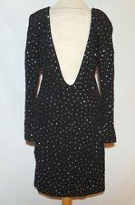 Jimmy Choo H&M Black Rayon Knit Rhinestone Studded Backless Dress Sz SM to MED b
