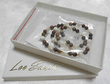 "Lee Sands 18"" Red & Brown Tiger's Eye and Mother-of-Pearl Necklace QVC NIB NOS"