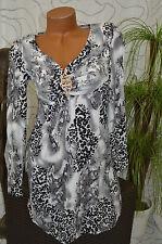 Kleid Freizeitkleid Party Volant knielang grau Tigermuster langarm Größe 38