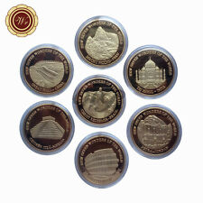 New Seven Wonders of The World 24k Gold Plated Coin Series Set of 7pcs Best Gift