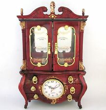 RED+GOLD TONE TRIM TEXTURED RESIN,CABINET STYLE CLOCK,JEWELRY+MUSIC BOX