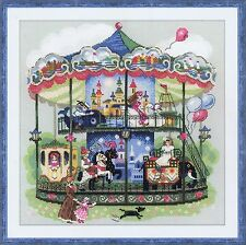 Carousel 14 Count Cross Stitch Kit By Riolis 35 x 35cm Victorian Double Tiered